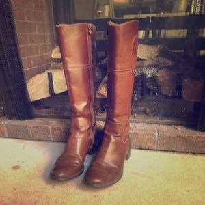 Etienne Aigner briwn chastity riding boots